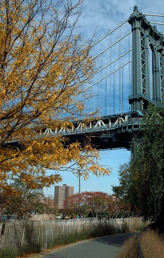 Тропа под мостом Манхаттана, Бруклином Нью-Йорком, США стоковое изображение rf