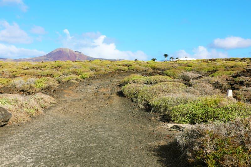 Тропа с изумительным ландшафтом с короной на предпосылке, Лансароте Ла вулкана кратера, Канарскими островами стоковое изображение