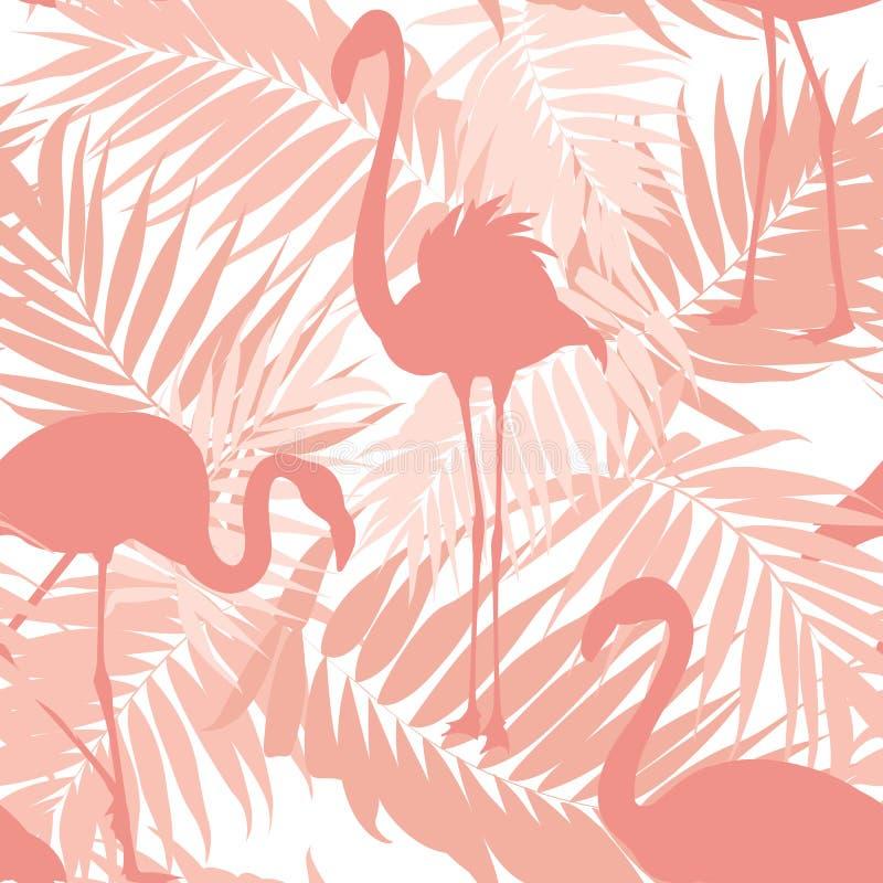 Тропическая ладонь выходит экзотическим птицам фламинго пинк иллюстрация вектора