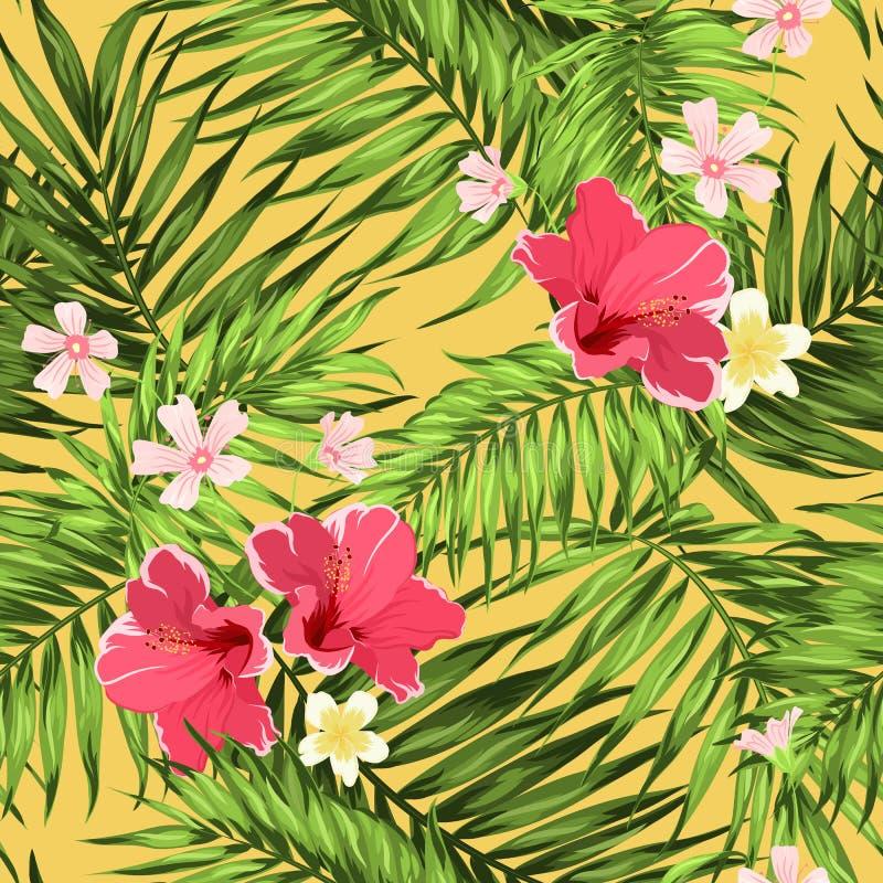 Тропическая ладонь джунглей выходит яркая текстура цветков бесплатная иллюстрация