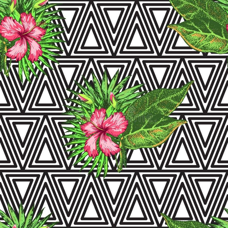Тропическая ладонь цветков иллюстрация вектора