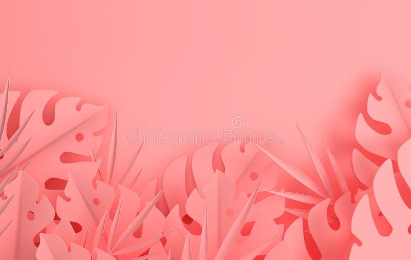Тропическая бумажная ладонь выходит рамка Лист лета тропические пастельные покрашенные Листва джунглей Origami экзотическая гавай бесплатная иллюстрация