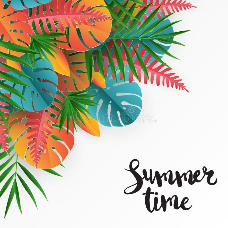 Тропическая бумажная ладонь, monstera выходит рамка Лист лета тропические бесплатная иллюстрация