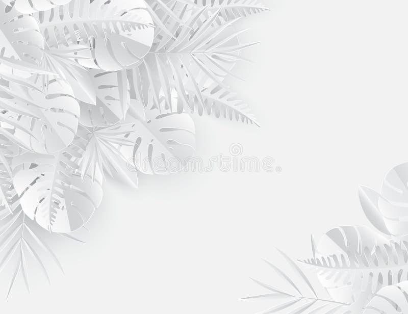 Тропическая бумажная ладонь, monstera выходит рамка Лист лета тропические иллюстрация вектора