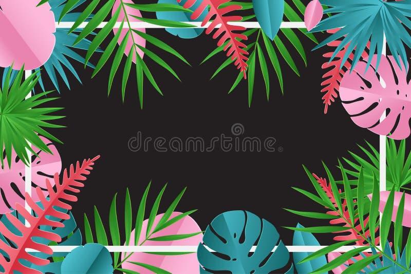 Тропическая бумажная ладонь, monstera выходит рамка иллюстрация штока