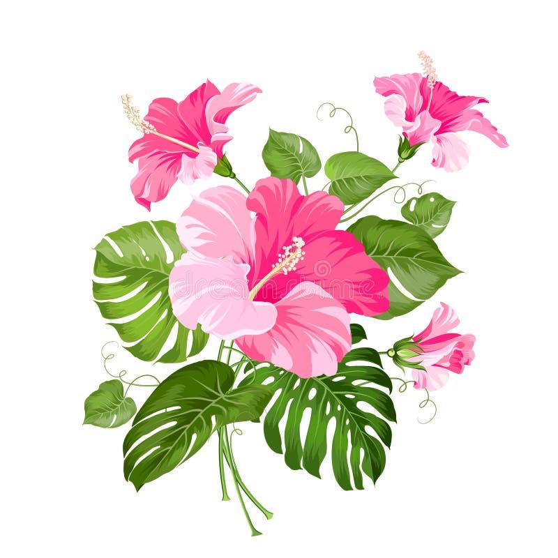 Тропическая гирлянда цветка иллюстрация штока