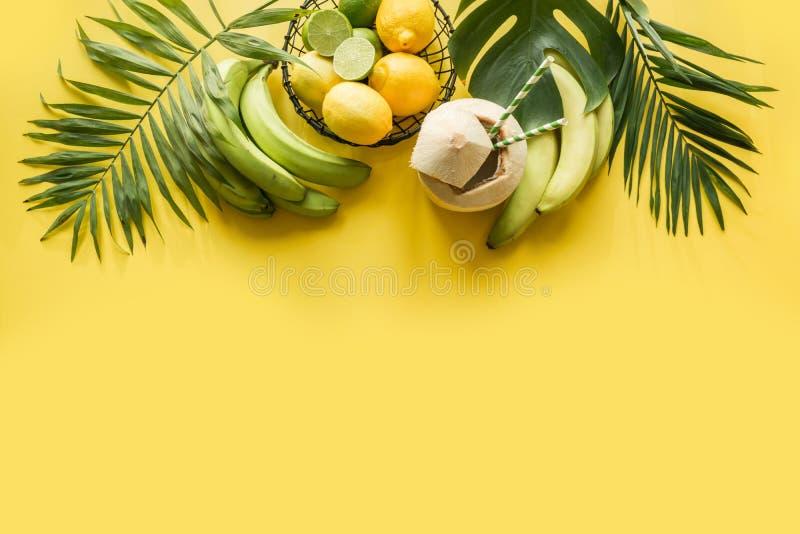Тропическая граница плодов, банан, известка, выходит ладони на напористую желтую предпосылку   Путешествие вытрезвителя стоковое изображение rf