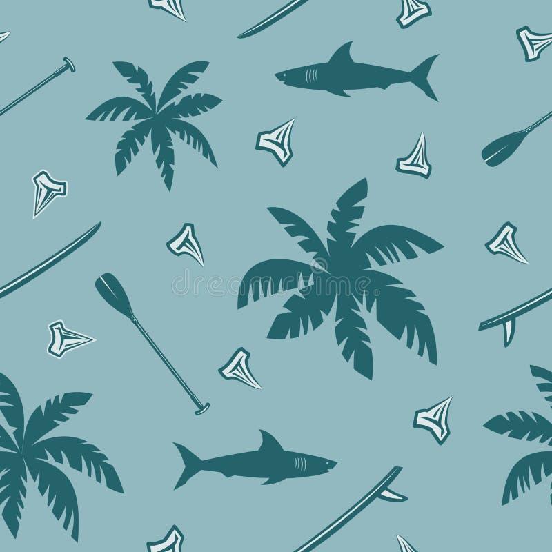 Тропическая занимаясь серфингом безшовная картина иллюстрация штока