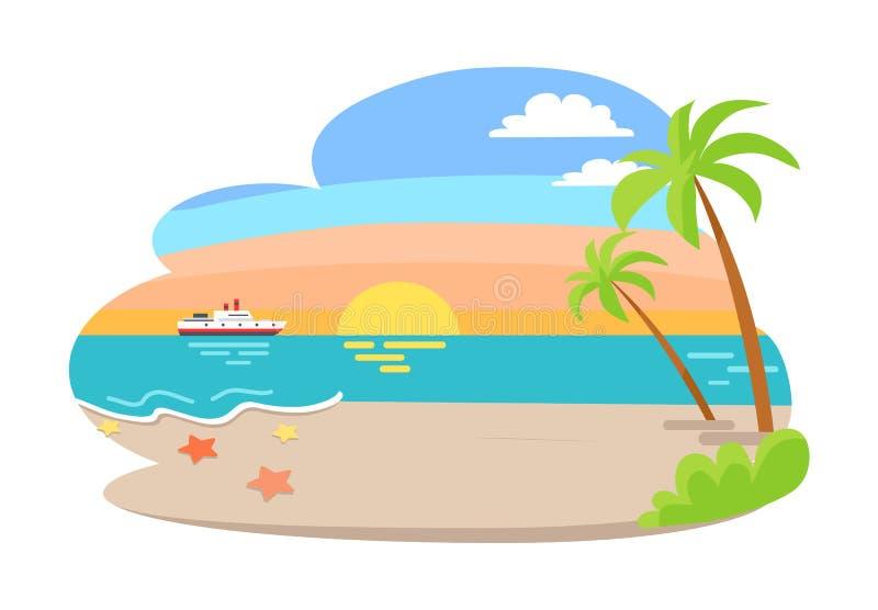 Тропическая иллюстрация вектора взморья лета взгляда иллюстрация вектора