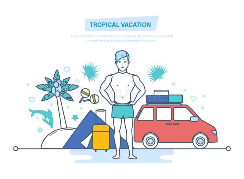 тропическая каникула Остатки в шатре, располагаться лагерем, Путешествовать к морю иллюстрация штока