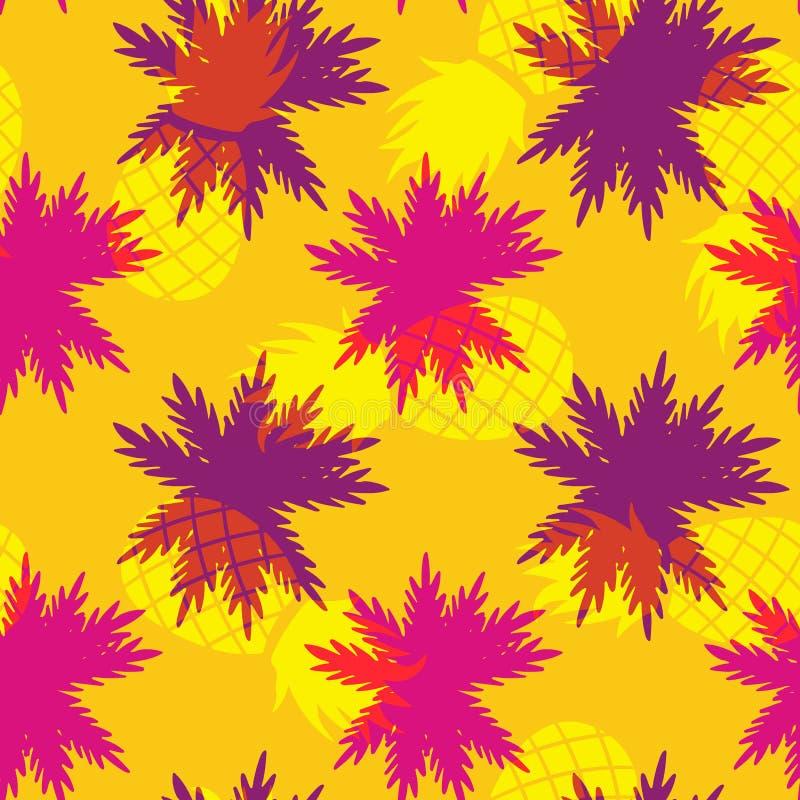 Тропическая картина лист ладони ананаса лета иллюстрация вектора
