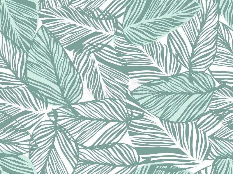 Тропическая картина, ладонь выходит безшовному вектору флористическая предпосылка бесплатная иллюстрация