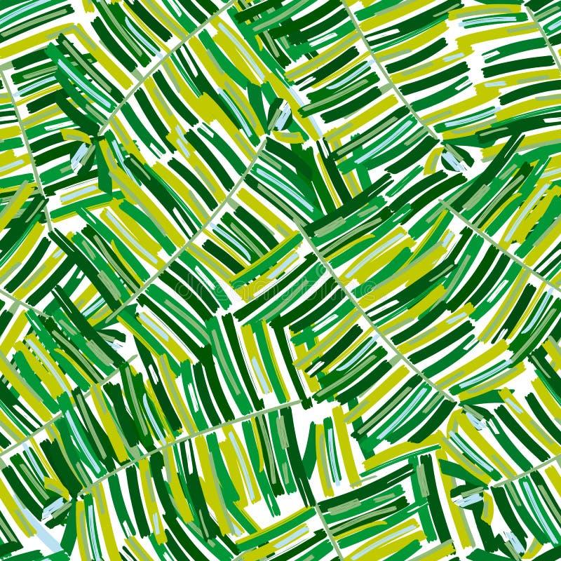 Тропическая картина, ладонь выходит безшовному вектору флористическая предпосылка иллюстрация штока