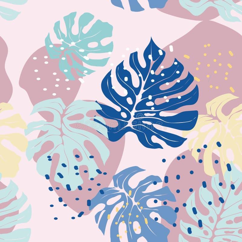 Тропическая картина лист нарисованная вручную в пастельных цветах стоковая фотография rf