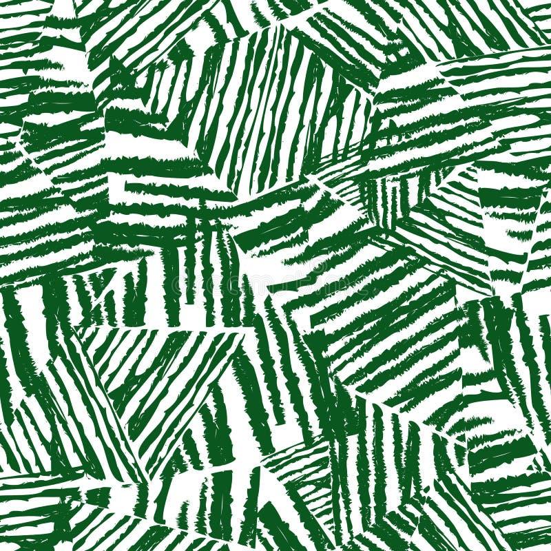 Тропическая картина, vector флористическая предпосылка Ладонь выходит безшовная картина Хаотическая грубая текстура на белой пред бесплатная иллюстрация