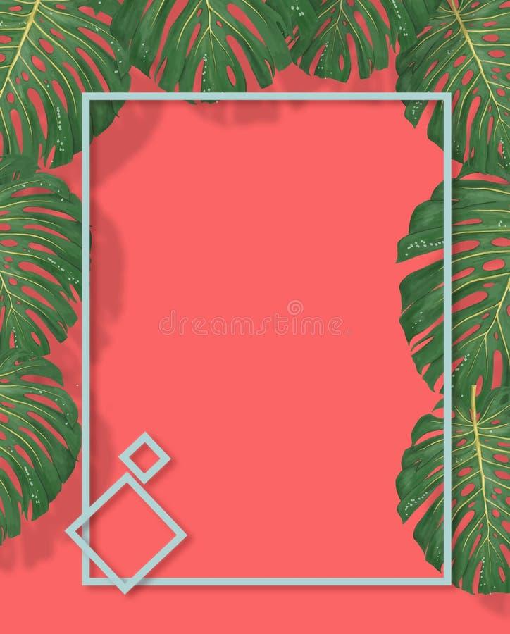 Тропическая ладонь выходит рамка на фон коралла Лист лета тропические Экзотические гавайские джунгли, предпосылка летнего времени бесплатная иллюстрация