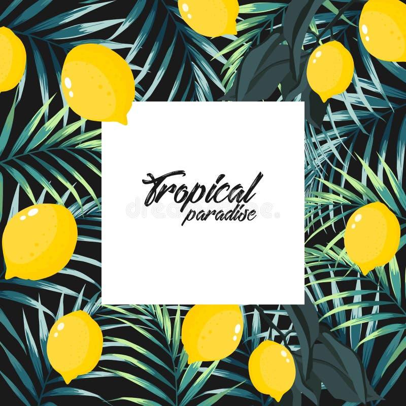 Тропическая пальма джунглей выходит с лимонами на черную предпосылку иллюстрация штока