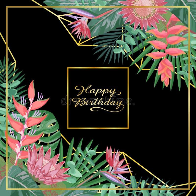 Тропическая поздравительая открытка ко дню рождения с днем рождений иллюстрация штока
