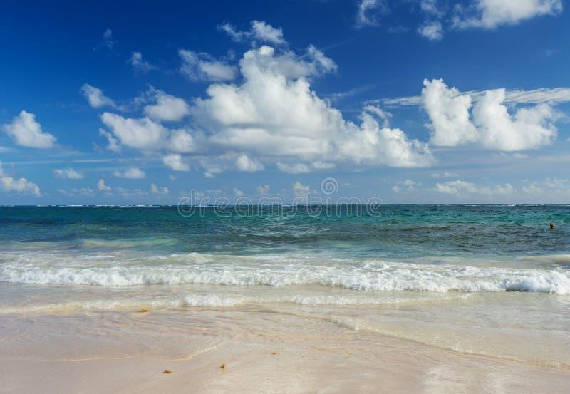 Тропическая предпосылка пляжа в Punta Cana, Доминиканской Республике стоковые изображения rf