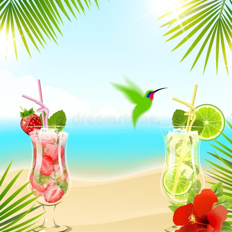 Тропическая предпосылка с коктеилями иллюстрация штока