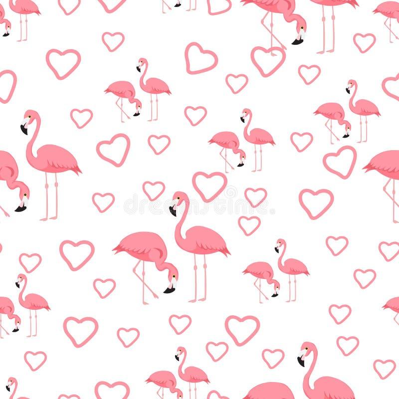 Тропическая предпосылка фламинго птицы - безшовный вектор картины иллюстрация вектора