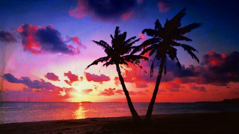 Тропическая предпосылка акварели захода солнца стоковые фото