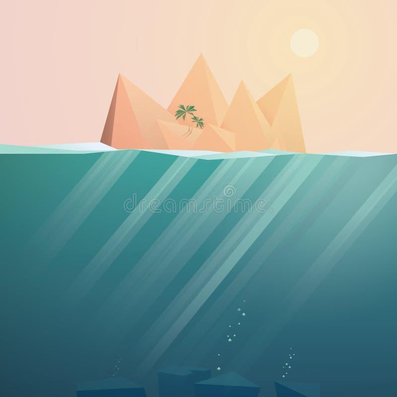 Тропическая предпосылка вектора ландшафта острова с подводным космосом Сцена захода солнца рая перемещения иллюстрация штока