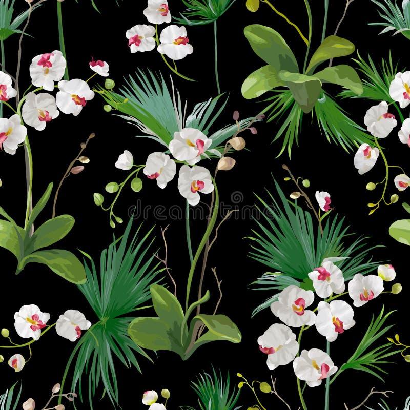Тропическая предпосылка листьев ладони и цветков орхидеи картина безшовная бесплатная иллюстрация