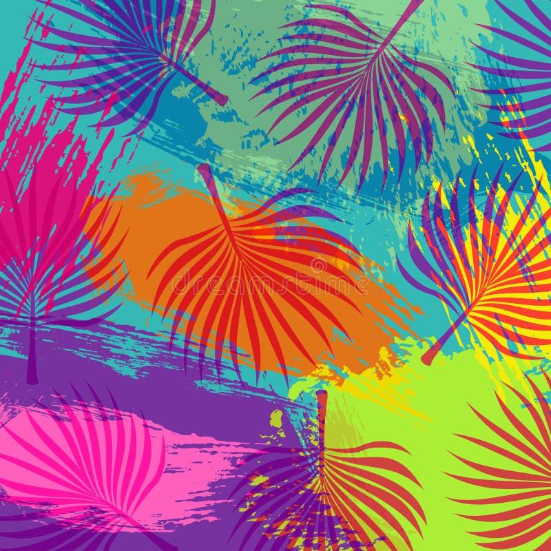 Тропическая предпосылка лист пальмы джунглей лета иллюстрация штока