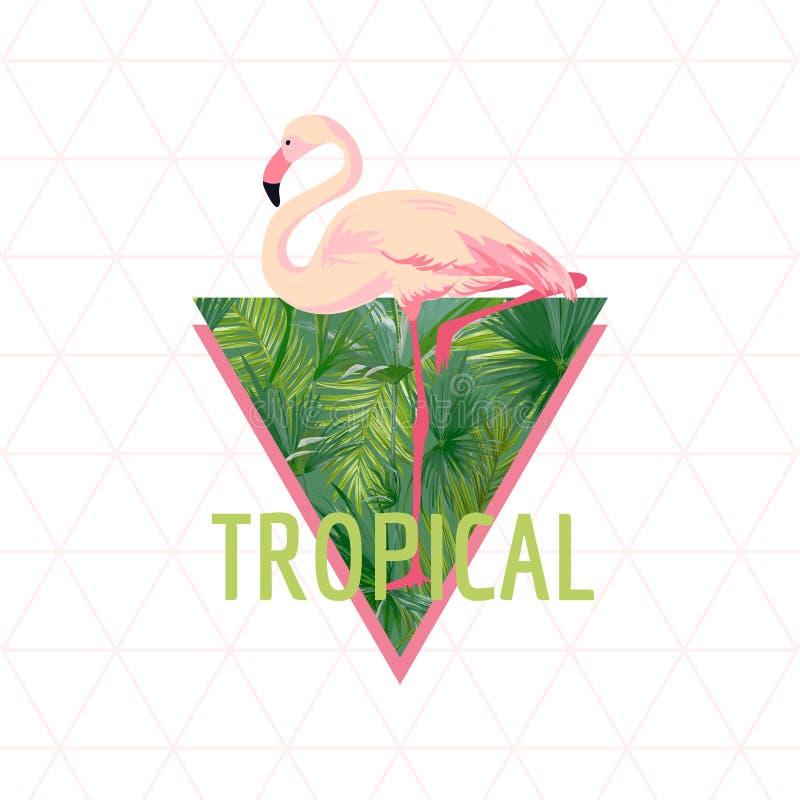 Тропическая предпосылка птицы фламинго Дизайн лета График моды футболки экзотическо бесплатная иллюстрация