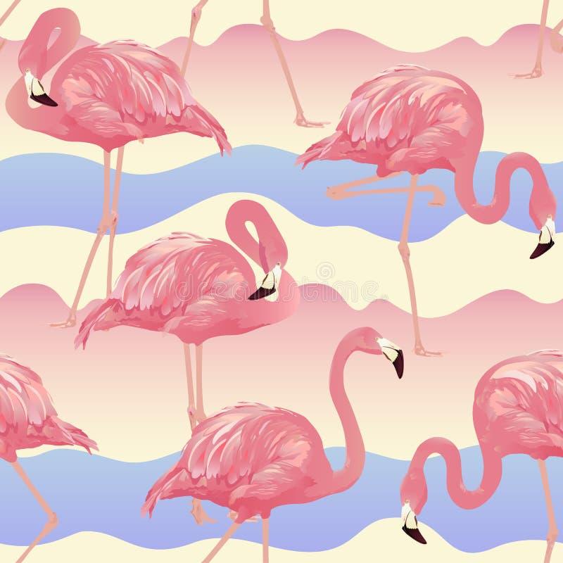 Тропическая предпосылка фламинго птицы иллюстрация штока
