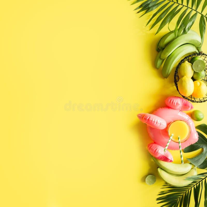 Тропическая рамка плодов, банан, известка, ладони листьев, апельсиновый сок в раздувном розовом фламинго на напористой пастельной стоковое фото rf