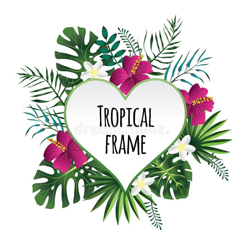 Тропическая рамка, шаблон с местом для текста Иллюстрация вектора, на белизне иллюстрация штока