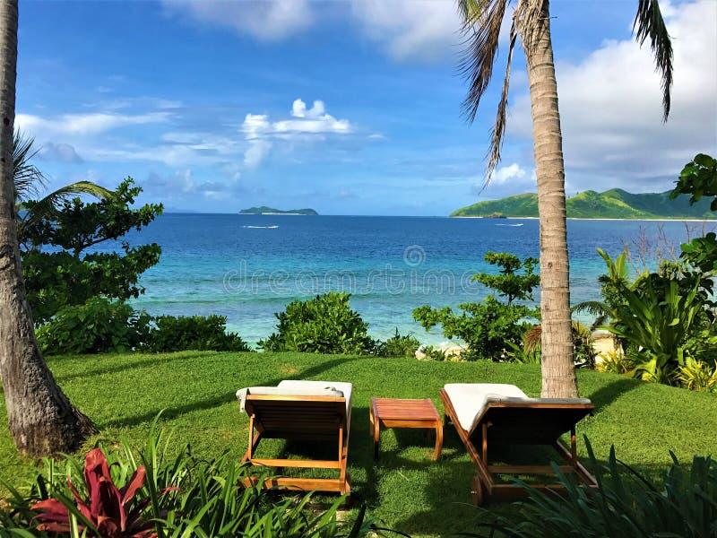 Тропическая сцена смотря вне и ослабляя стоковое изображение rf