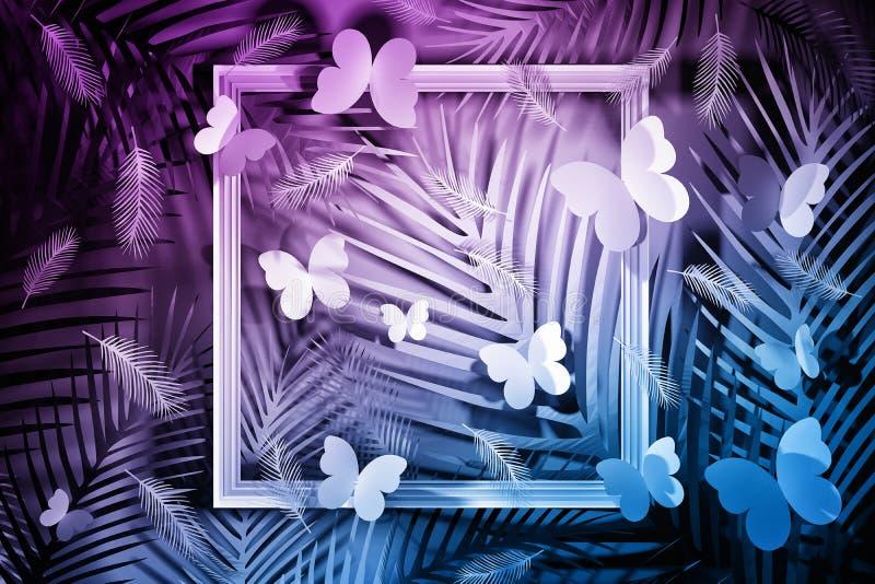 Тропическая сцена с бабочками в розовом голубом цвете иллюстрация штока