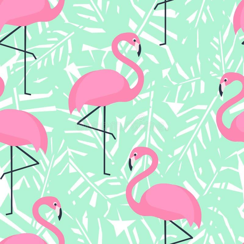 Тропическая ультрамодная безшовная картина с розовыми фламинго и листьями ладони мяты зелеными иллюстрация вектора