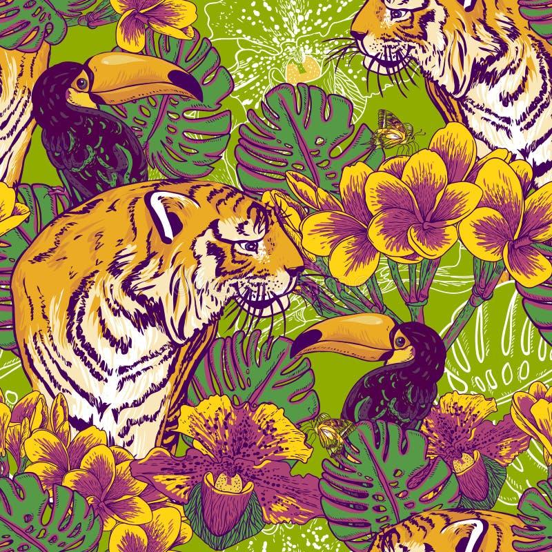Тропическая флористическая безшовная предпосылка с тигром иллюстрация вектора