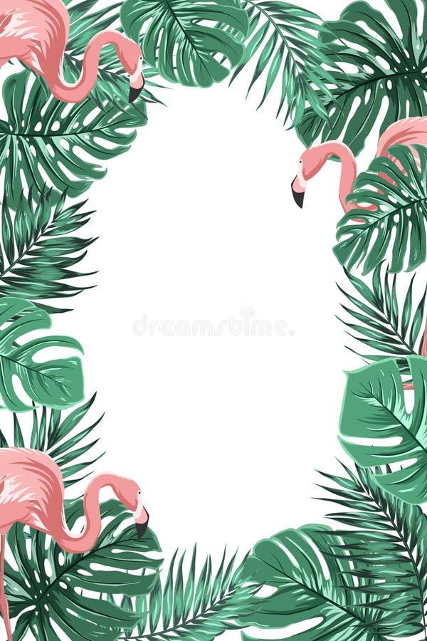 Тропические джунгли выходят фламинго портрет рамки иллюстрация вектора