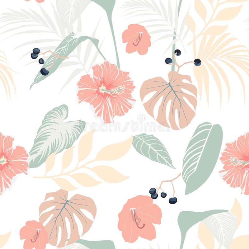 Тропические заводы и пастельный гибискус Безшовная тропическая картина, предпосылка иллюстрация штока