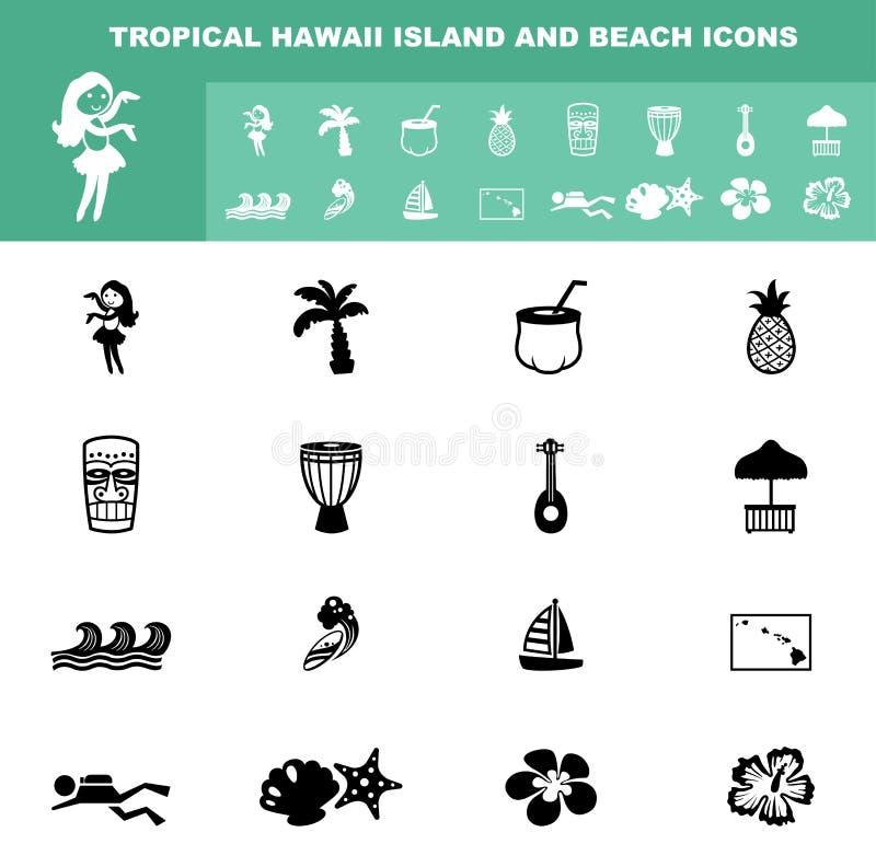 Тропические значки острова и пляжа Гавайских островов бесплатная иллюстрация
