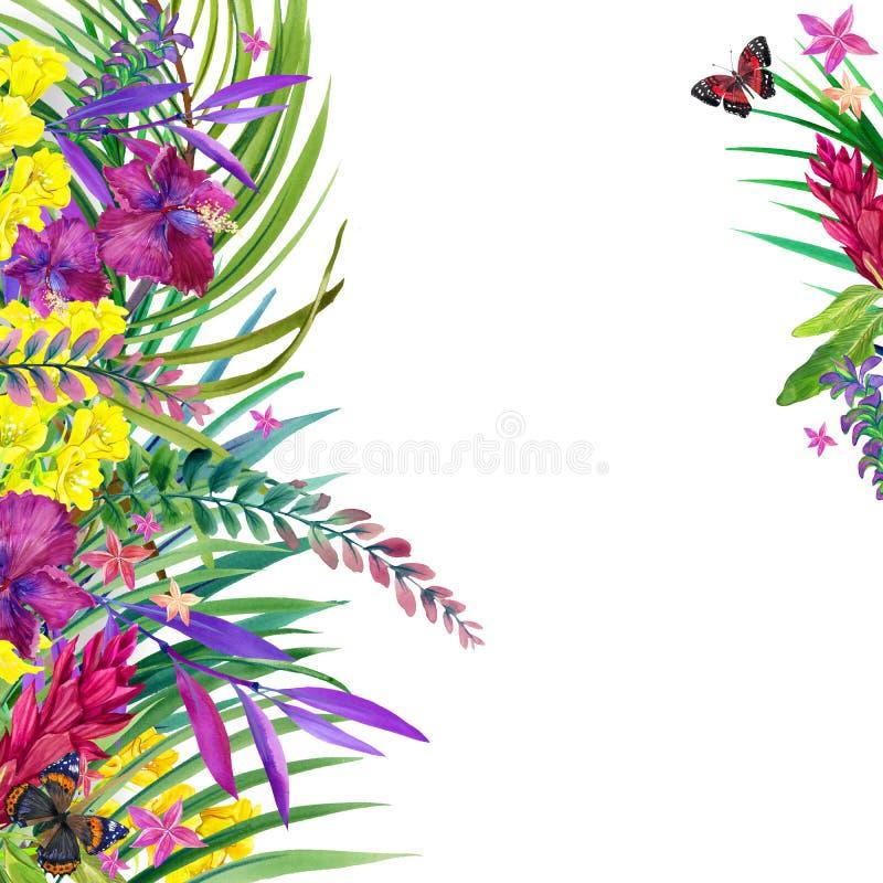 Тропические листья, цветки и бабочка бесплатная иллюстрация