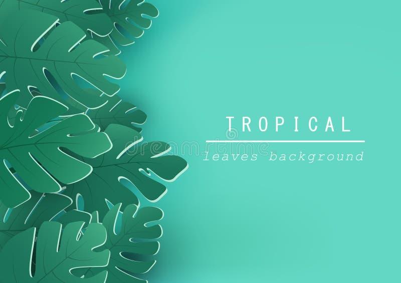 Тропические листья предпосылка, дизайн природы, летчик, приглашение, п иллюстрация штока