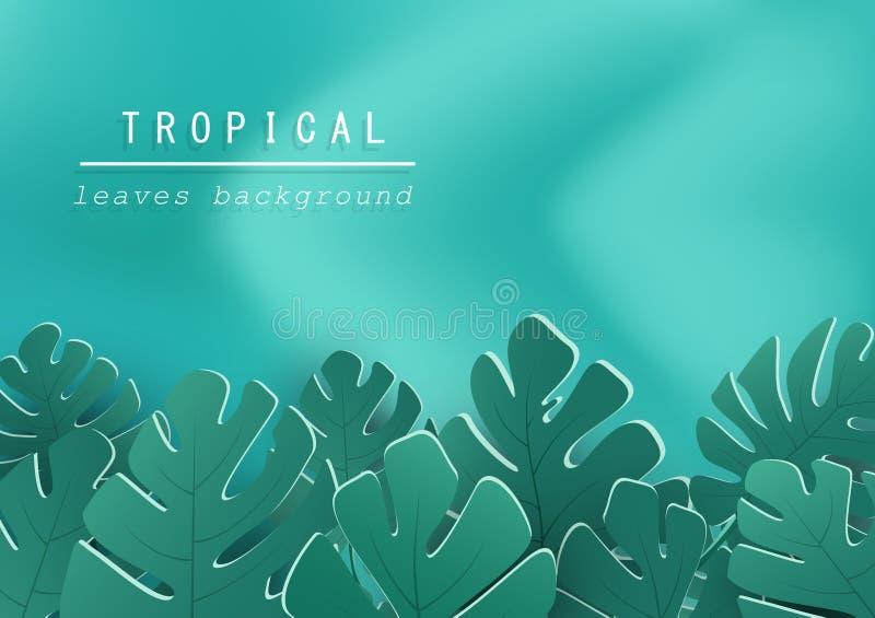 Тропические листья с предпосылкой волны, зеленым дизайном природы, ле бесплатная иллюстрация