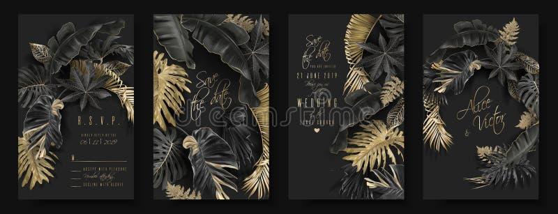 Тропические листья черные и карты свадьбы золота бесплатная иллюстрация