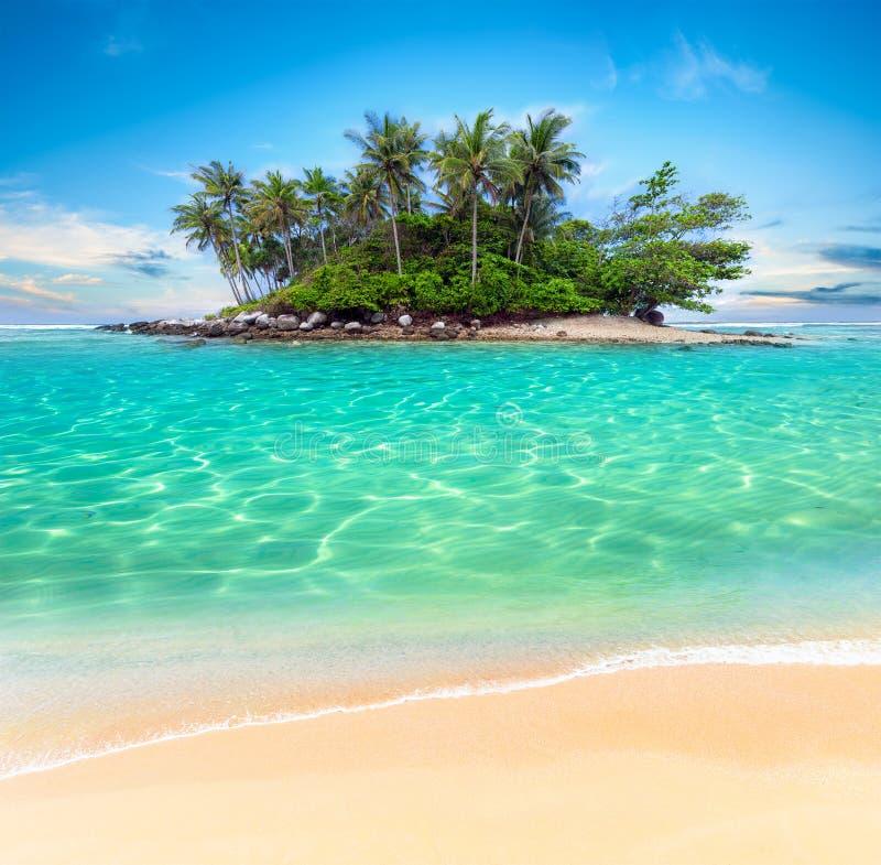 Тропические остров и песок приставают экзотическую предпосылку к берегу перемещения стоковая фотография