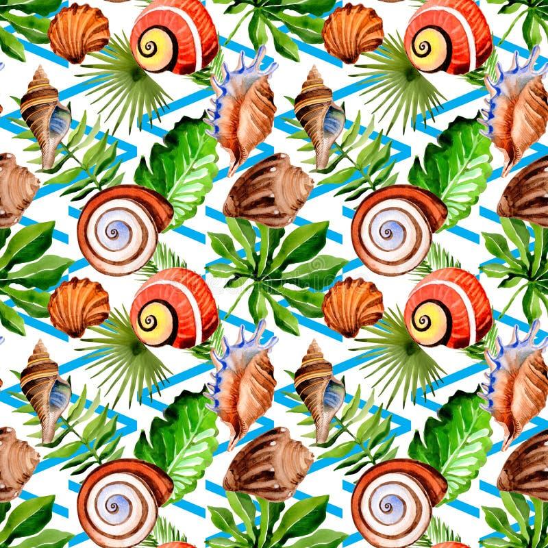 Тропические пальма листьев Гаваи и картина раковины моря в стиле акварели иллюстрация вектора