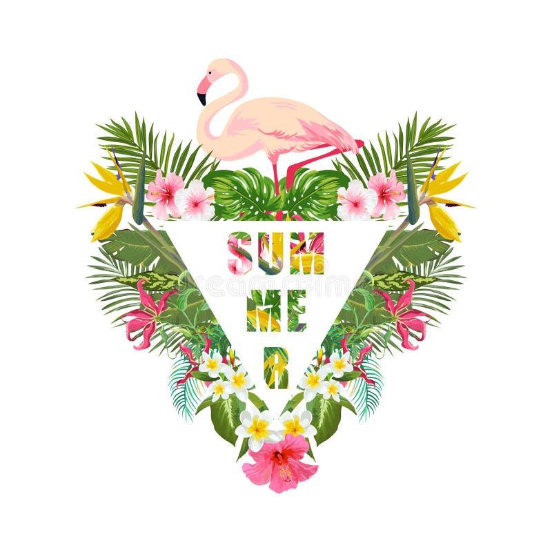 Тропические птица фламинго и предпосылка цветков Дизайн лета График моды футболки экзотическо иллюстрация штока
