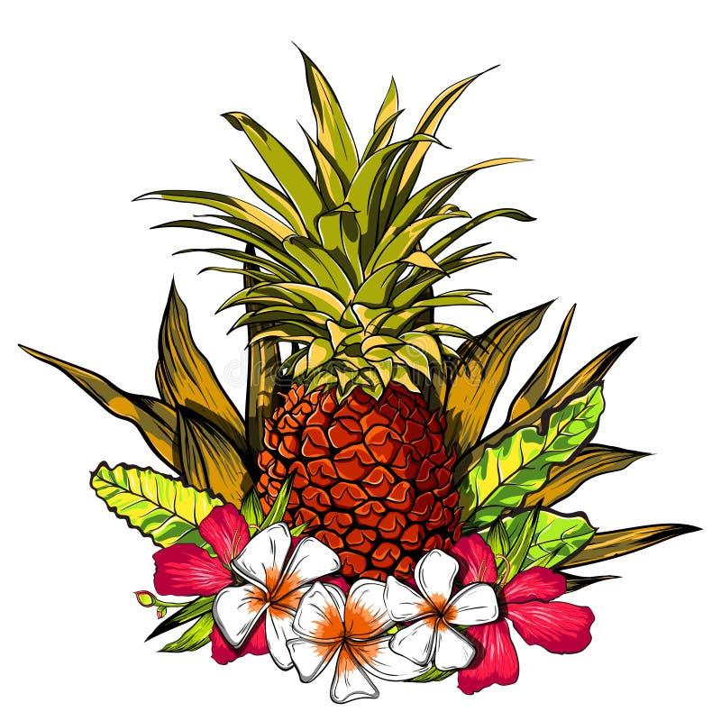 Тропические цветки, джунгли выходят, цветок рая Предпосылка иллюстрации красивого вектора флористическая, экзотическая печать иллюстрация штока