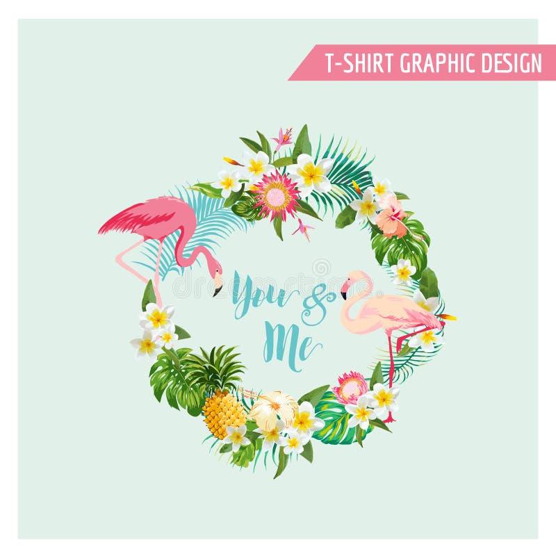 Тропические цветки и венок фламинго иллюстрация вектора