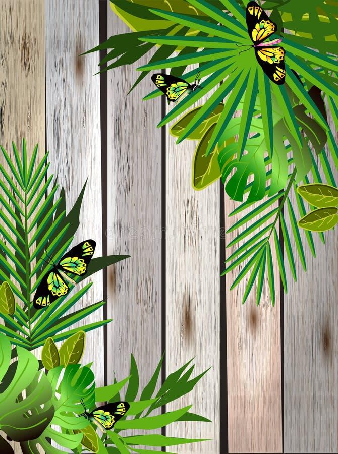 Тропические цветки и листья и красивая бабочка над древесиной иллюстрация штока